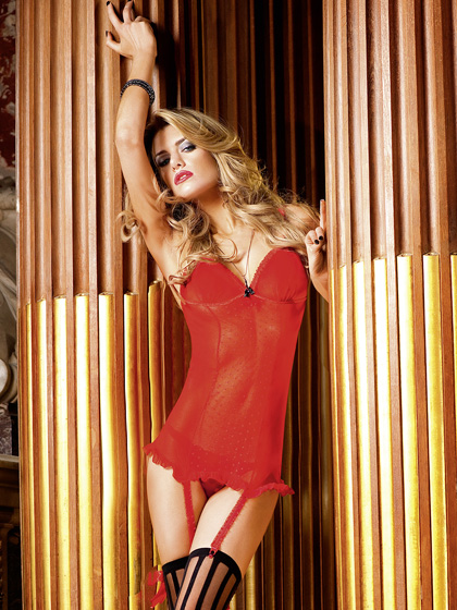Dot Mesh Dress with Garters by Baci Lingerie.